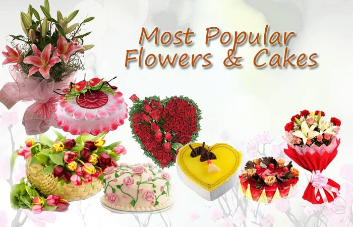 Flowers And Cake Combination