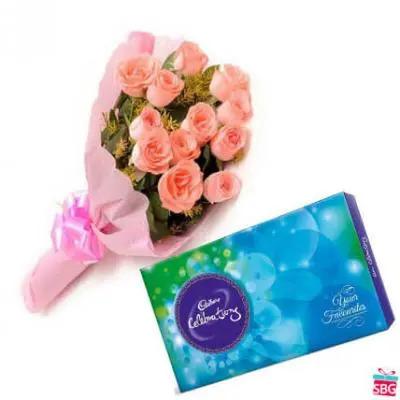 Pink Roses & Cadbury Celebrations