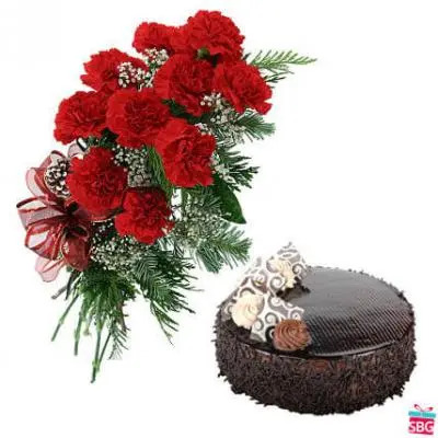 Red Carnations & Chocolate Cake
