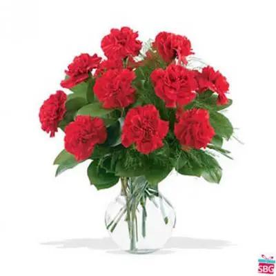 Red Carnations Vase