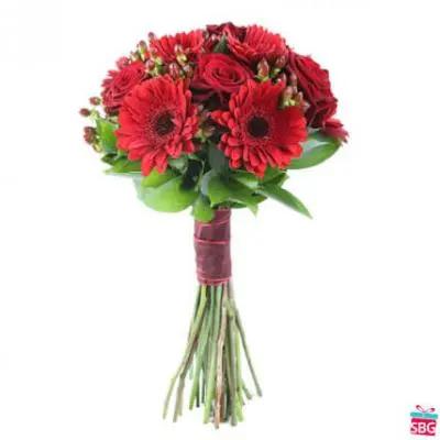 Red Roses & Red Gerbera
