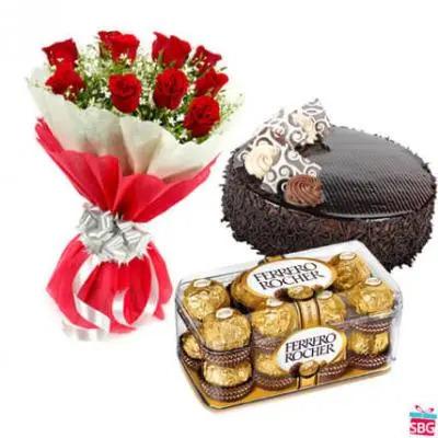 Roses, Cake & Ferrero Rocher