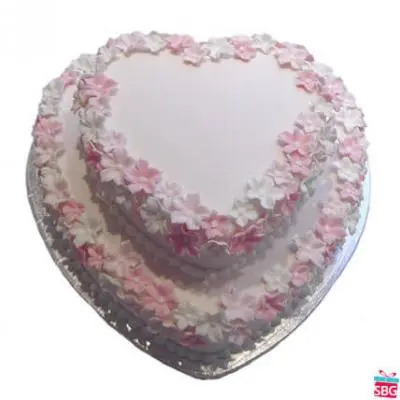 Heart Shape 2 Tier Cake