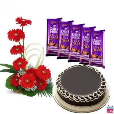 Gerbera, Chocolate & Cake