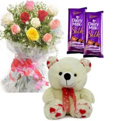 Mixed Roses, Teddy & Chocolate