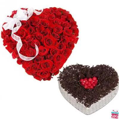 Roses Heart & Heart Shape Cake