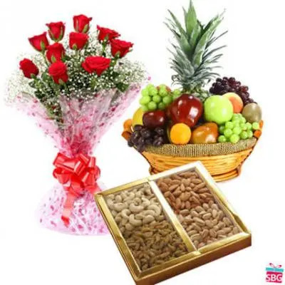 Roses, Dry Fruits & Fresh Fruits
