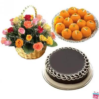 Roses, Laddu & Cake
