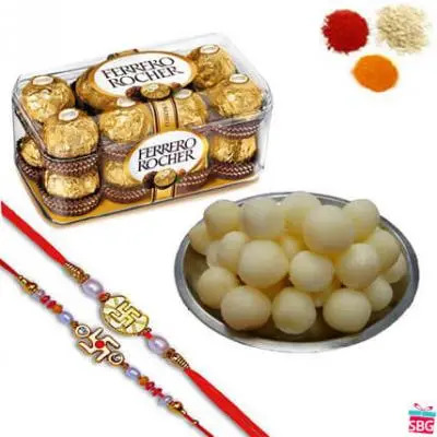 Rakhi With Chocolate & Rasgulla