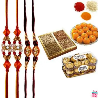 Rakhi With Ferrero Rocher, Dry Fruits & Motichur Laddu