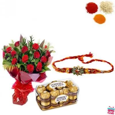 rakhi With Roses & Chocolate