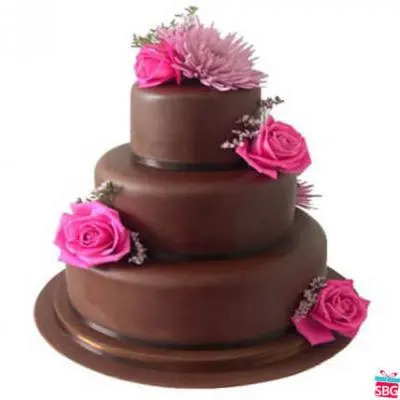 Eggless 3 Tier Chocolate Cake