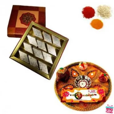 Rakhi Thali With Kaju Burfi