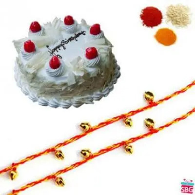 White Forest Cake With Rakhi