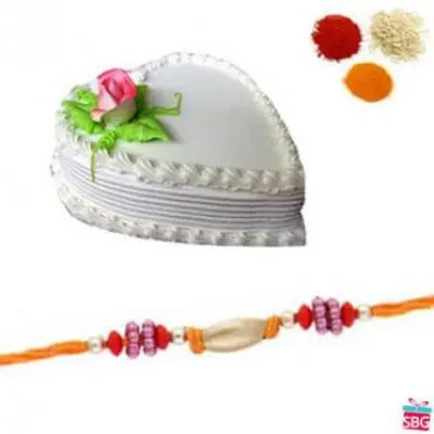 Heart Shape Vanilla Cake With Rakhi