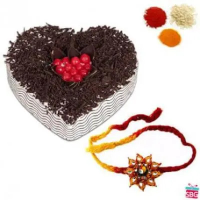 Heart Shape Black Forest Cake With Rakhi
