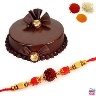 Chocolate Truffle Cake With Rakhi