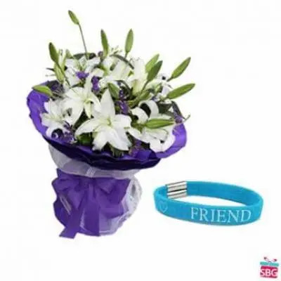White Lilies With Friendship Band