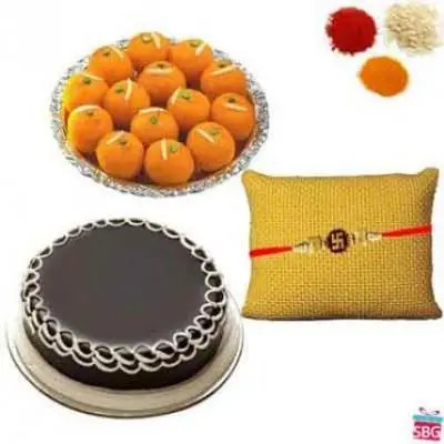 Laddu & Cake With Rakhi