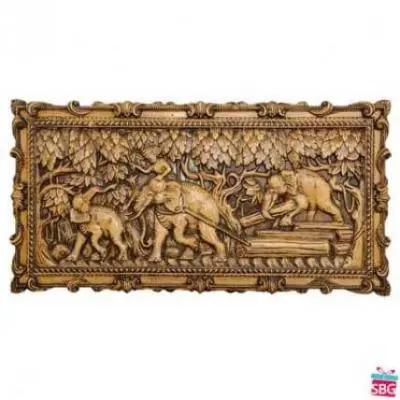 Elephants Hauling Logs