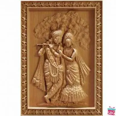 Radha Krishna Wood Carving