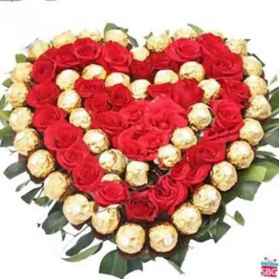 Ferrero Rocher With Roses Heart