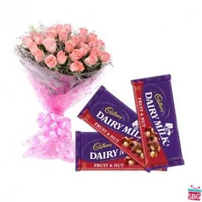 Pink Roses with Cadbury Dairy Milk-Fruit n Nut