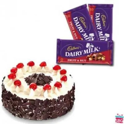 Black Forest Cake with Cadbury Dairy Milk-Fruit n Nut