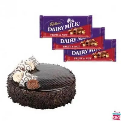 Chocolate Cake with Cadbury Dairy Milk-Fruit n Nut