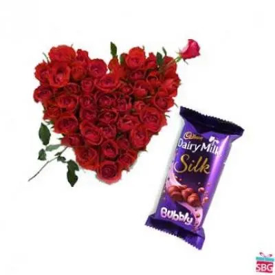 Roses Heart With Cadbury Silk Bubbly