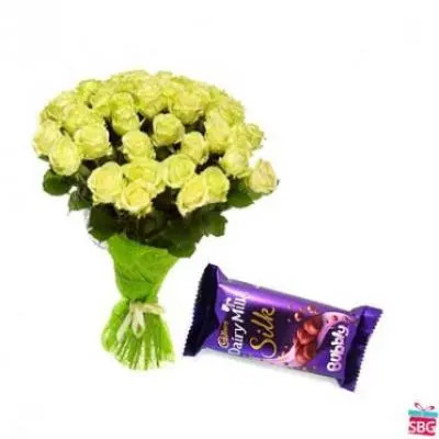 Yellow Roses With Cadbury Silk Bubbly