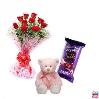 Roses, Teddy With Cadbury Silk Bubbly