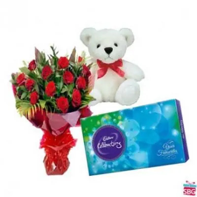 Red Roses, Teddy With Cadbury Celebration