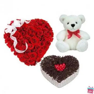 Roses Heart, Heart Cake With Teddy