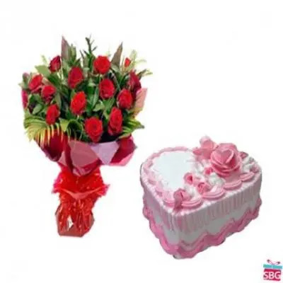 Red Roses With Heart Shape Strawberry Cake