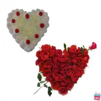 Roses With Heart Shape White Forest Cake