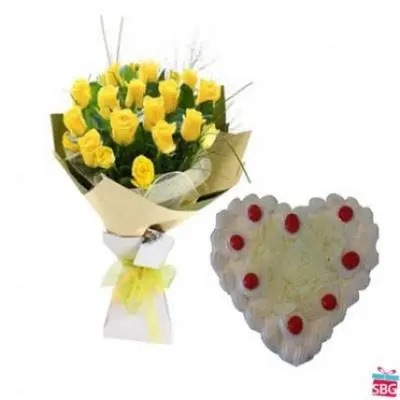 Yellow Roses With Heart Shape White Forest Cake