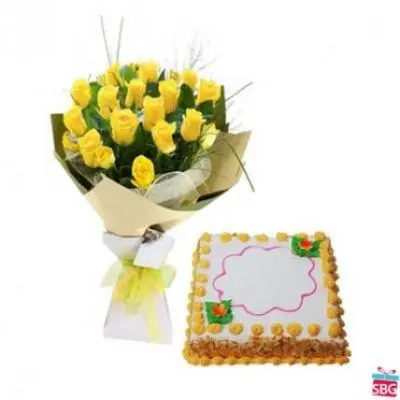 Yellow Roses With Square Butter Scotch Cake
