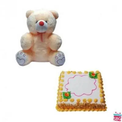 Teddy With Square Butter Scotch Cake