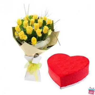 Yellow Roses With Heart shape Red Velvet Cake