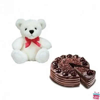 Teddy With Choco Chip Cake