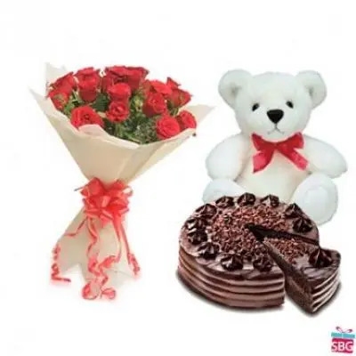 Roses, Teddy With Choco Chip Cake