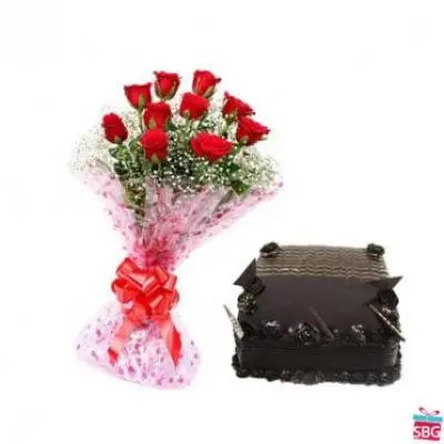 Red Roses With Square Chocolate Truffle Cake