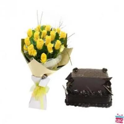 Yellow Roses With Chocolate Truffle Square Cake