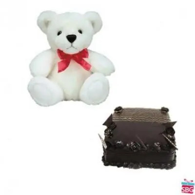 Teddy With Square Chocolate Truffle Cake