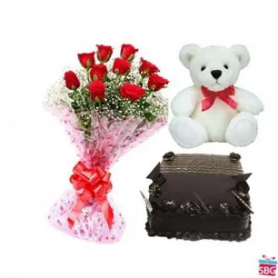 Roses, Teddy With Square Chocolate Truffle Cake