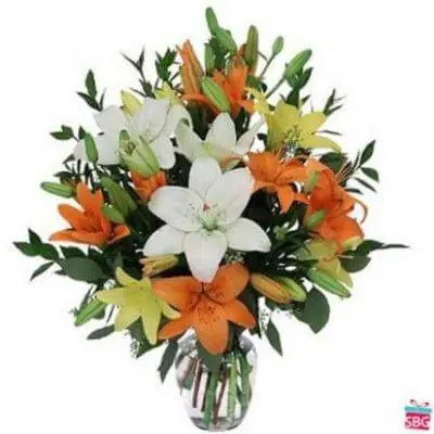 Mixed Lily Vase