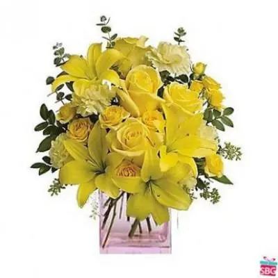 Yellow Mix Flower Vase