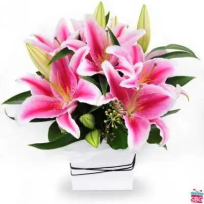 Pink Lilies basket