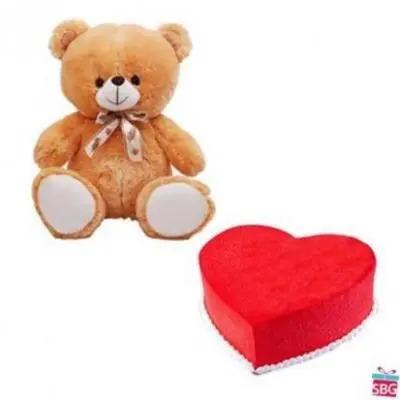 Teddy With Heart Shape Red Velvet Cake